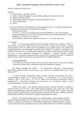 Zápis zo zasadnutia VV SAMŠ 1.10.2014