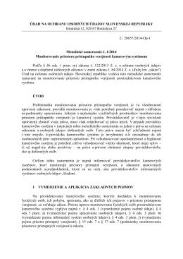Metodické usmernenie č. 1/2014 Monitorovanie priestoru