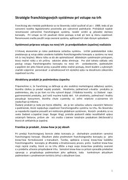 Novinka_Stratégie franchisingových systémov pri vstupe na