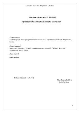 Smernica o financovaní ŠKD