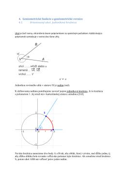 4. Goniometrické funkcie a goniometrické rovnice
