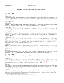 Zadania 1. série letnej casti KMS 2014/2015