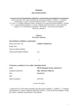 Dohoda - Úrad práce, sociálnych vecí a rodiny