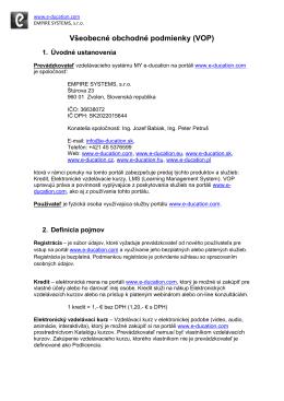 Všeobecné obchodné podmienky (VOP) - E
