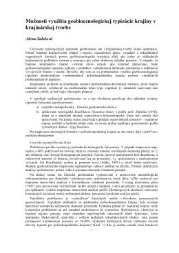 Salasova - Moznosti vyuztia geobiocenologickej