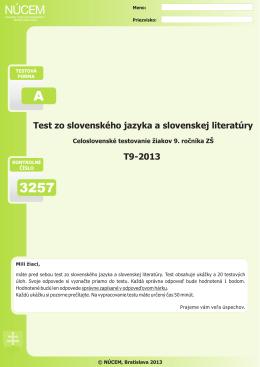 Certifikačný test zo slovenského jazyka a slovenskej