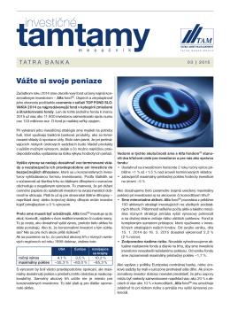 Vážte si svoje peniaze - Tatra Asset Management