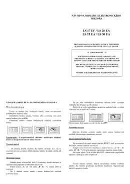 Návod na obsluhu elektronických trezorov typu LS