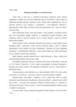 1 Viliam Judák Pôsobenie kamaldulov na území Slovenska Vzťah