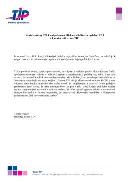 Reakcia strany TIP k vulgarizmom Richarda Sulíka vo