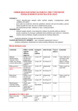 Pokyny na odber vzoriek OKM