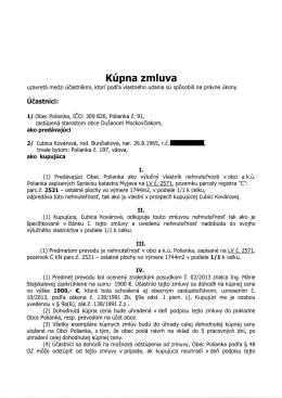 Kúpna zmluva - Obec Polianka