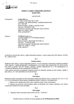 , SLIAČ Zmluva o nájme reklamného priestoru (§ 663