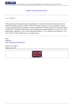 angielski - lekcje/korepetycje skype