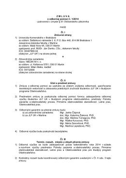 Zmluva o odbornej pomoci č. 1/2014 - MEDIK