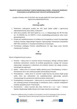 Regulamin etapów preinkubacji i wejścia kapitałowego