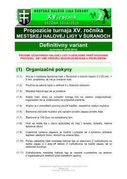 propozície (pravidlá) xv. ročníka mhl šurany