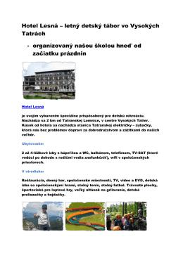 Hotel Lesná – letný detský tábor vo Vysokých Tatrách