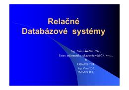 Relačné Databázové systémy - Ústav informatiky AV ČR