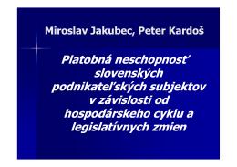 Nová zákonná úprava konkurzu a reštrukturalizácie