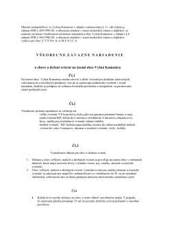 Všeobecné záväzné nariadenie o chove a držaní