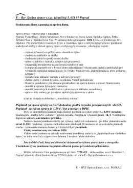 E - Byt Poprad, Hraničná 5, 058 01 Poprad