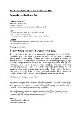 Scenariusz Pasowania Klas I - Szkoła Podstawowa w Chorzelowie