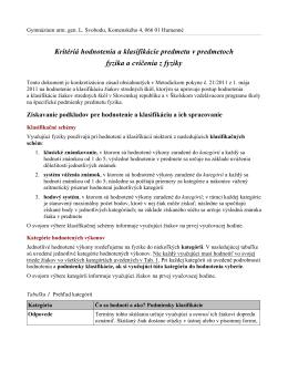 Kritéria hodnotenia a klasifikácie predmetu fyzika 2014