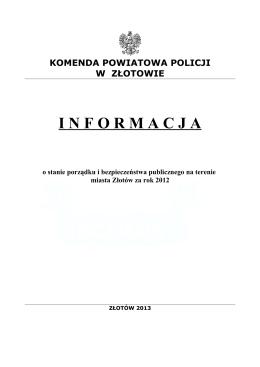 Informacja Komendy Powiatowej Policji o stanie porządku i