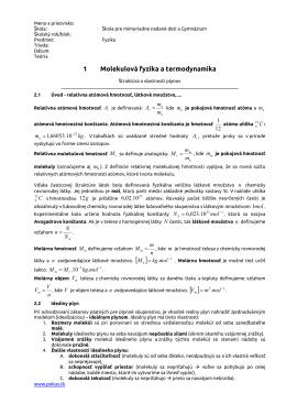 1 Molekulová fyzika a termodynamika
