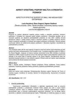 aspekty efektívnej podpory malých a stredných podnikov