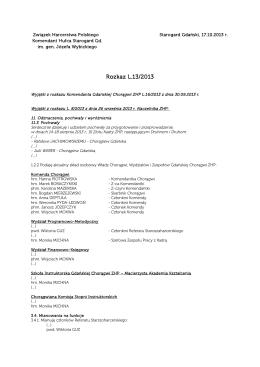 Rozkaz L13/2013 - Hufiec Starogard Gd. im. gen. Józefa Wybickiego