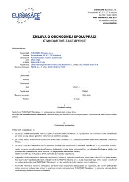 zmluva o obchodnej spolupráci štandartné zastúpenie