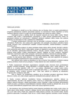 V Bratislave, dňa 22.5.2012 Vážený pán