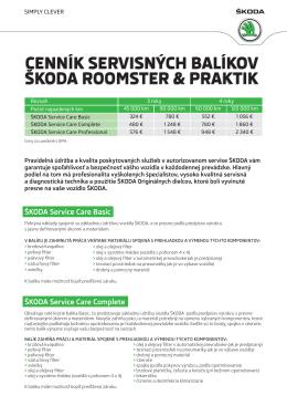 cenník servisných balíkov škoda roomster & praktik cenník
