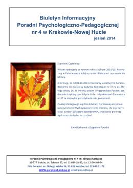 Biuletyn: Jesień 2014 - Poradnia Psychologiczno