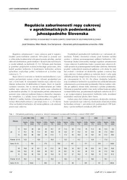 Regulácia zaburinenosti repy cukrovej v agroklimatických
