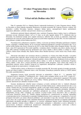 15 rokov Programu obnovy dediny na Slovensku Víťazi súťaže