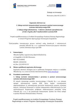 Zapytanie ofertowe - system B2B i szkolenie