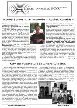 Nowy Sołtys w Mrozowie – Radek Kamiński Czy do Wojnowic