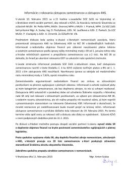 Informácie z rokovania zástupcov zamestnancov a