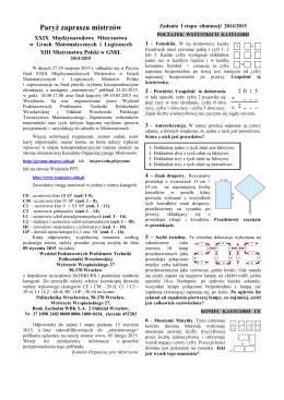 Zadania - Międzynarodowe Mistrzostwa w Grach Matematycznych i