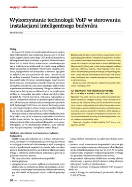 Marek Horyński Wykorzystanie technologii VoIP w sterowaniu