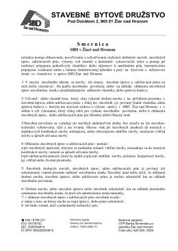 Smernica 16 - SBD Žiar nad Hronom