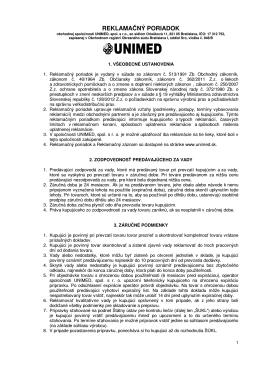 Reklamačný poriadok UNIMED, spol. s r.o.