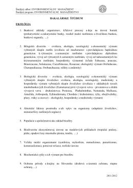 BAKALÁRSKE ŠTÚDIUM EKOLÓGIA 1. Bunkové základy