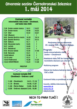 Otvorenie sezóny Čiernohronskej železnice 01.05.2014