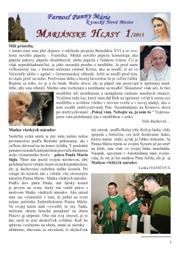 č. 1/2013 - Farnosť Panny Márie Kysucké Nové Mesto
