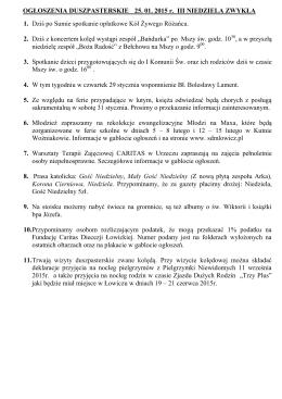 OGŁOSZENIA DUSZPASTERSKIE 25. 01. 2015 r. III NIEDZIELA