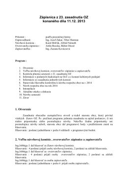 Zápisnica z 23. zasadnutia OZ konaného dňa 11.12. 2013